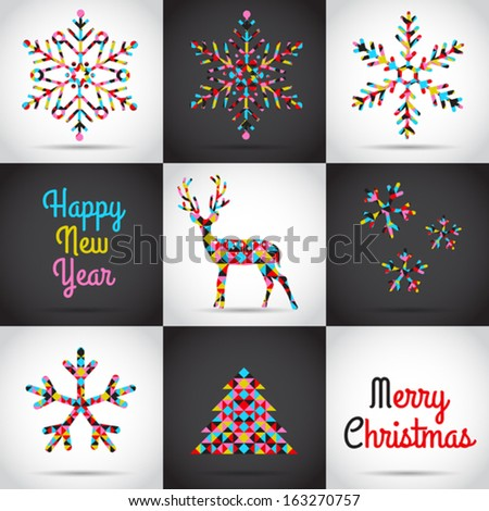 Set of vector Christmas illustrations with snowflakes, Christmas tree, deer in abstract style - stock vector