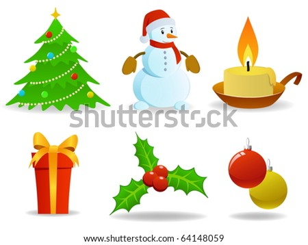 Set of vector christmas images. - stock vector