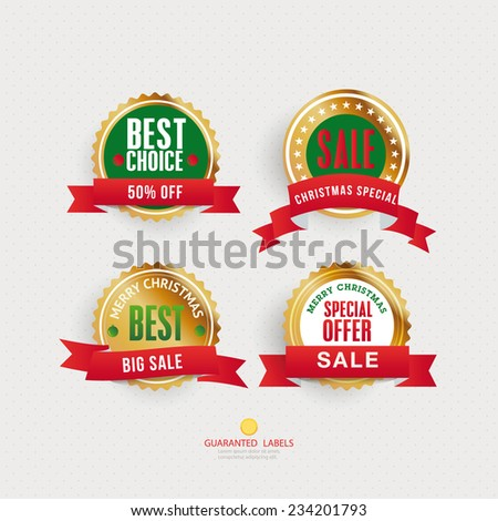 Set of vector christmas labela and badget - stock vector