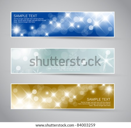 Set of vector christmas / New Year horizontal banners 2012 - stock vector