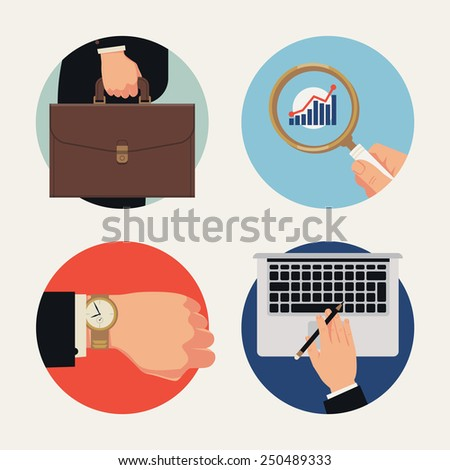 Set of vector circle business icons on abstract office worker man hand holding briefcase, magnifying glass, wrist watch, laptop | Time management, work, stats monitoring, analysis and computing icons - stock vector