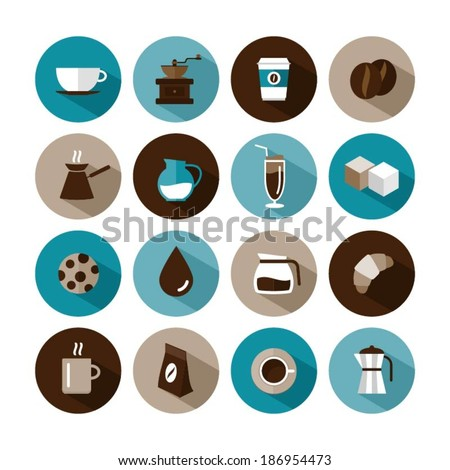 set of vector coffee icons - stock vector