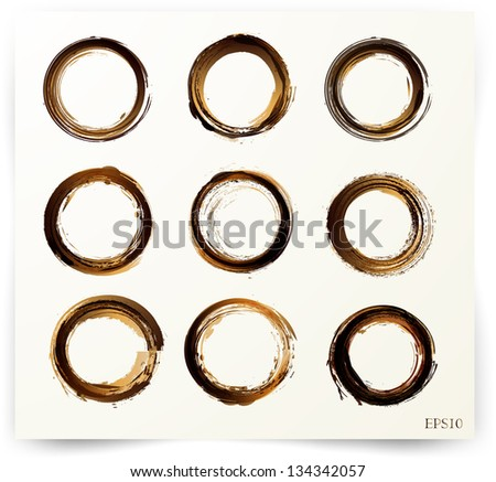 Set of vector coffee stains - stock vector
