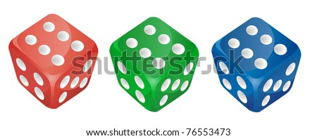 set of vector color dice - stock vector