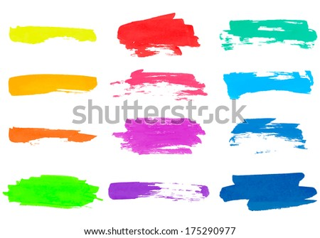 Set of vector colored brush strokes for design.  - stock vector