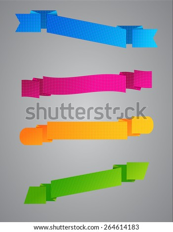 Set of vector colored grainy ribbons on a gray background  - stock vector