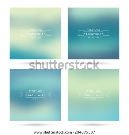 Set of vector colorful abstract backgrounds blurred. For mobile app, book cover, booklet, background, poster, web sites, annual reports. reports.  blue, green, turquoise, cream, yellow - stock vector