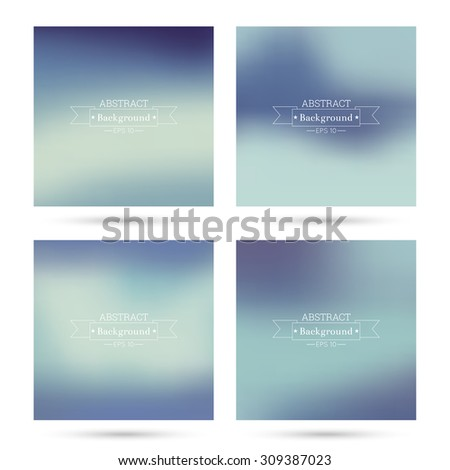 Set of vector colorful abstract backgrounds blurred. For mobile app, book cover, booklet, background, poster, web sites, annual reports.  blue, green, turquoise, cream, purple, violet - stock vector
