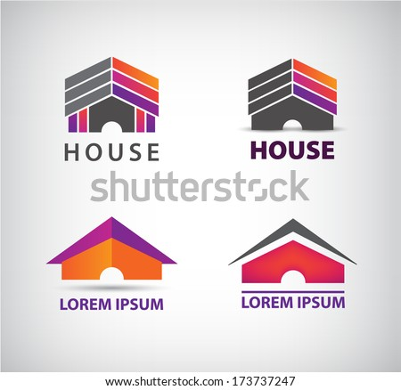 set of vector colorful house icons, logos - stock vector