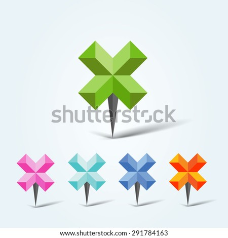 Set of vector colorful map pins - stock vector