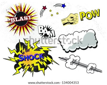 Set of Vector Comic Book Elements - stock vector