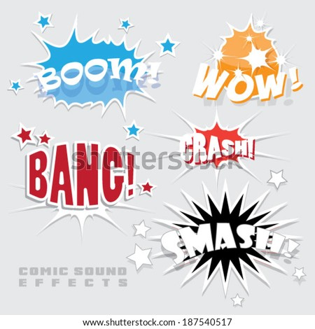 set of vector comic sound effects - stock vector