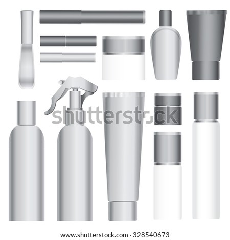 Set of vector cosmetic packages samples for product design - stock vector