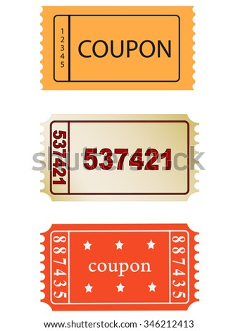 set of vector coupon, ticket  icons, vector, eps 10 - stock vector