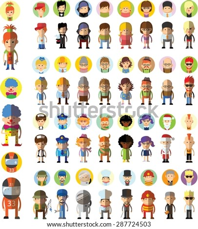 Set of vector cute character avatar icons in flat design - stock vector