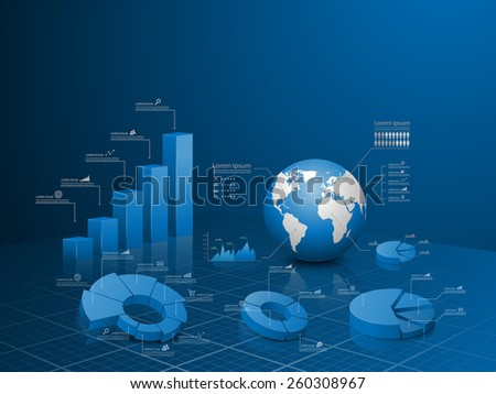 Set of vector 3d graph with infographic global template. - stock vector
