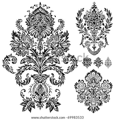 Set of vector damask ornaments. Easy to edit. Perfect for invitations or announcements. - stock vector