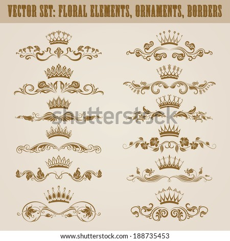 Set of vector damask ornaments. Floral elements, borders, crowns for design. Page decoration - stock vector