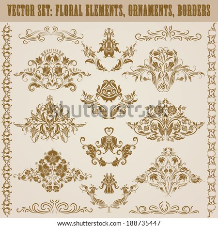 Set of vector damask ornaments. Floral elements, borders for design. Page decoration. - stock vector