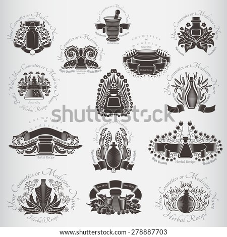 Set of vector dark silhouettes labels beauty or medicine theme. Bottles and glass near plants, flowers, berries; leaves. (cream, lotion, balm, tincture, cosmetics, oil, perfume, herbal drags) - stock vector