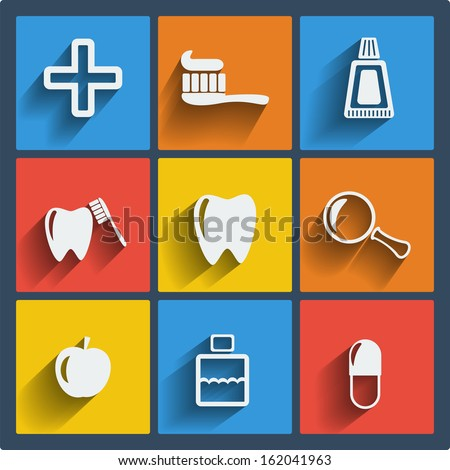 Set of 9 vector dental web and mobile icons in flat design. Symbols of medical cross, rinse teeth, toothbrush, toothpaste, magnifier, apple, pill - stock vector