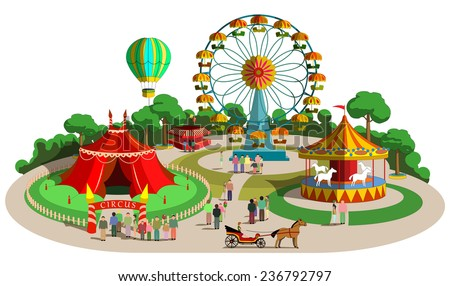 Set of vector design composition with amusement park elements - stock vector