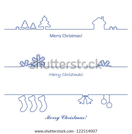 Set of vector design elements for Christmas cards decoration. - stock vector