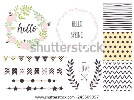 Set of vector design elements, including seamless patterns, flags, garlands, borders, wreaths and ribbons. Hand drawn love collection. Valentine's day kit. Set for wedding design. Save the date. - stock vector