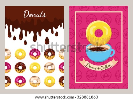 Set of vector design template with coffee and donuts pattern. Seamless fast food background. Concept for cafe, restaurant, breakfast menu, desserts, bakery. Flyer, poster, banner, packaging design.  - stock vector