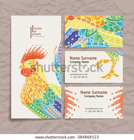 Set of vector design templates. Brochures in random colorful style. Frames and backgrounds. Zentangle designs. - stock vector