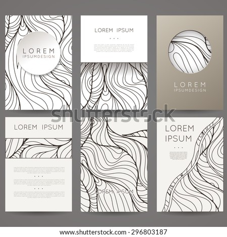 Set of vector design templates. Brochures in random colorful style. Vintage frames and backgrounds. Black and White. - stock vector