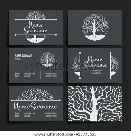 Set of vector design templates. Brochures in random colorful style. Vintage frames and backgrounds. Business card with tree in hand draw style. Hipster style. - stock vector