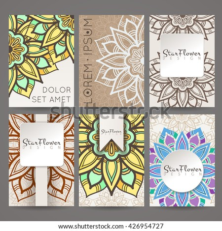 Set of vector design templates. Brochures in random colorful style. Vintage frames and backgrounds. Business card with floral circle ornament. Mandala style. - stock vector
