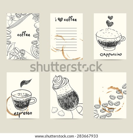 Set of vector design templates. Hand drawn doodle coffee cups, coffee stains, coffee beans and spices. Cute collection of business card, invitation, flyer or label with space for text. - stock vector
