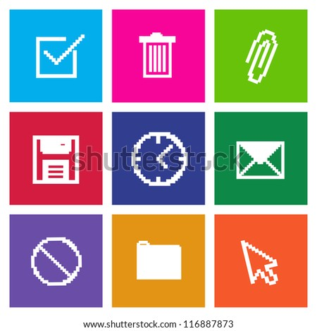 Set of Vector Desktop Icons in Metro Style, Ready to Use, EPS10 - stock vector