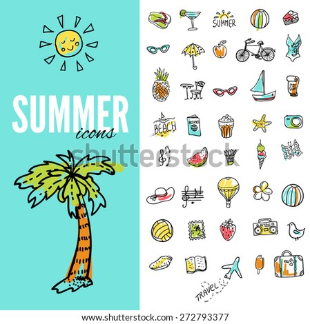 Set of  vector doodle summer icons. - stock vector