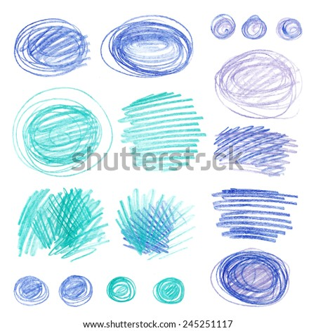 Set of vector doodle with crayons. Children sketches colored pencils on white paper - stock vector