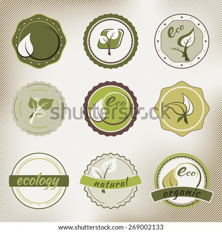 Set of vector ecology badges in retro style and colors on the light background - stock vector
