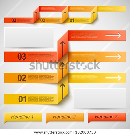 Set of vector elements for infographic in warm orange colors - stock vector