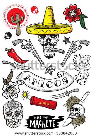 Set of vector elements. Mexican theme. Tattoo-art design. New traditional tattoo style. Hand-drawn vector images.Good for stickers. Easy to edit. EPS8 file. - stock vector