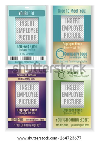 Set of vector employee badge ID templates - stock vector
