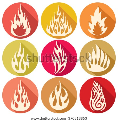 set of vector flames icons (fire flames, fire icon set, flame icons, fire symbols) - stock vector