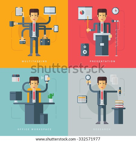 Set of Vector Flat Conceptual Illustrations of Businessman. Multitasking, Presentation, Office Workspace, Research - stock vector