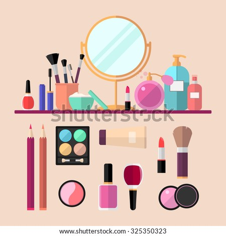 Set of vector flat cosmetics, make up icons - stock vector