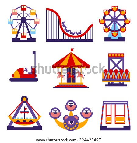 Set of vector flat design amusement park and merry-go-round icons - stock vector