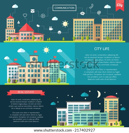 Set of vector flat design buildings compositions - stock vector