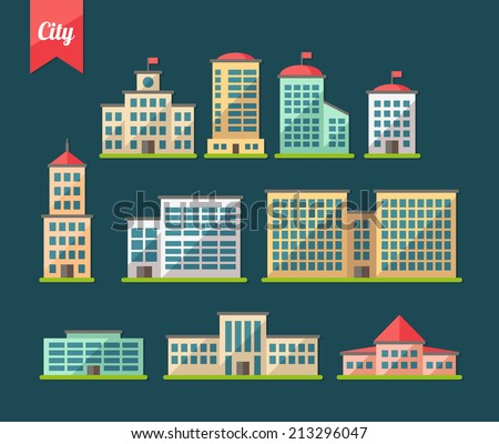 Set of vector flat design buildings icons - stock vector