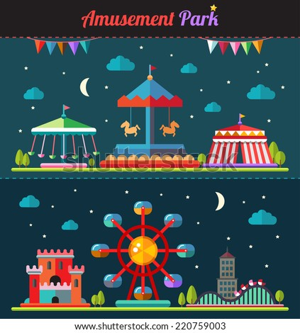 Set of vector flat design composition with amusement park elements - stock vector