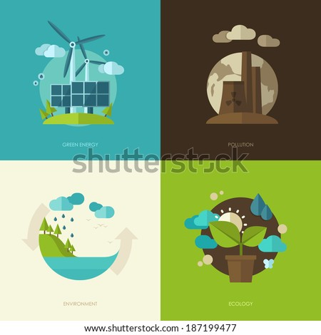 Set of vector flat design concept illustrations with icons of ecology, environment, green energy and pollution - stock vector