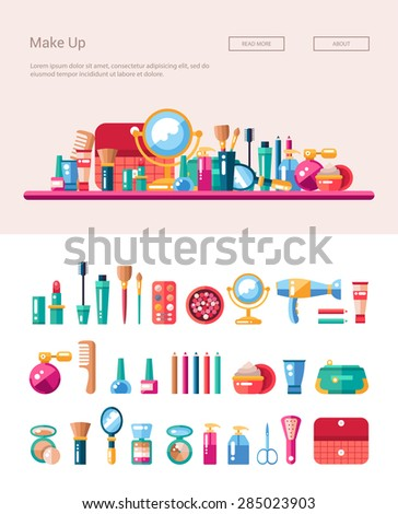 Set of vector flat design cosmetics, make up icons and elements with header banner illustration - stock vector